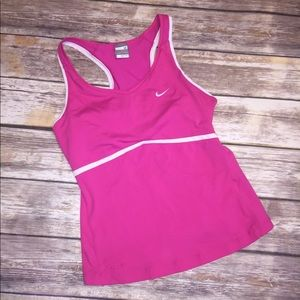 NIKE DRY FIT RACER BACK BUILT IN SPORTS BRA TOP